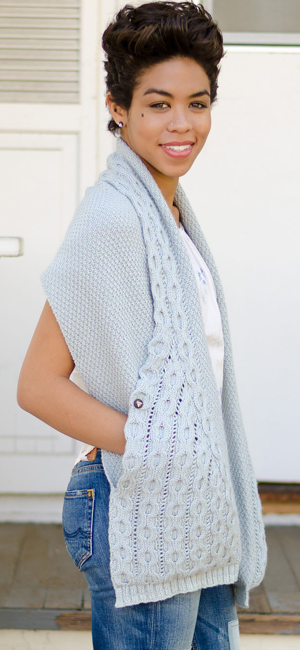 Knitting Pattern for Hugs and Cables Wrap