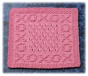 Hugs and kisses free knitting pattern motif for dishcloth, blanket squares and more. More free knitting patterns at www.terrymatz.biz/intheloop