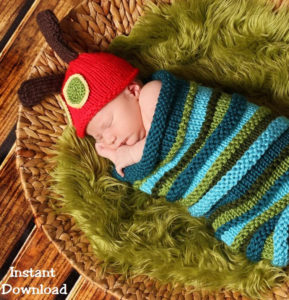 Knitting Pattern for Caterpillar Baby Cocoon and Hat