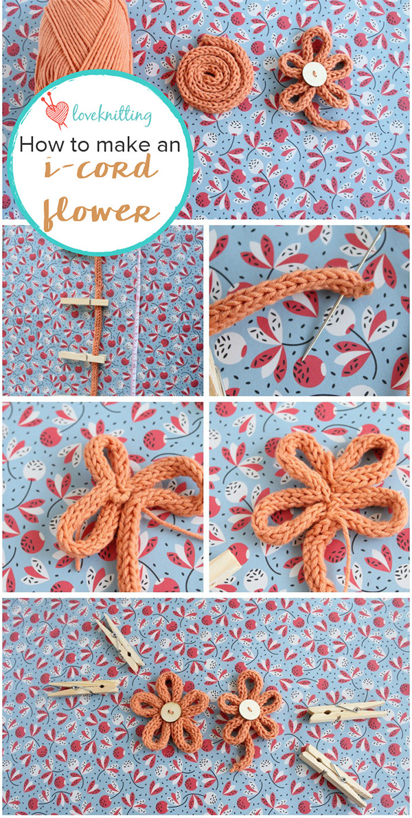 Free Knitting Pattern for I-cord Flower Applique