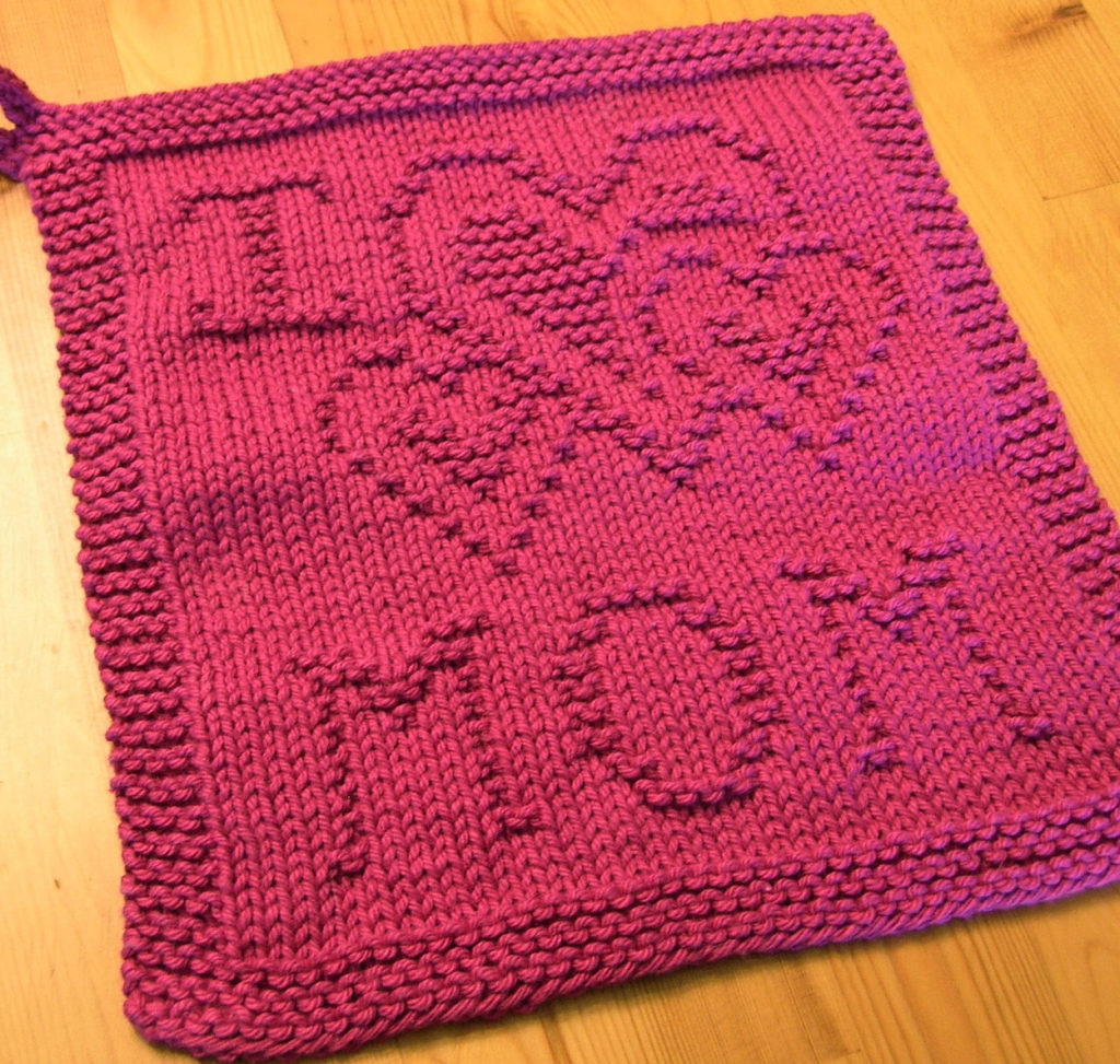 Free Knitting Pattern for I Heart Mom Cloth