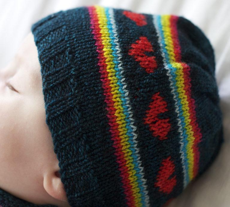 Free Knitting Pattern for I Heart Rainbows Baby Hat 9d0c12805692