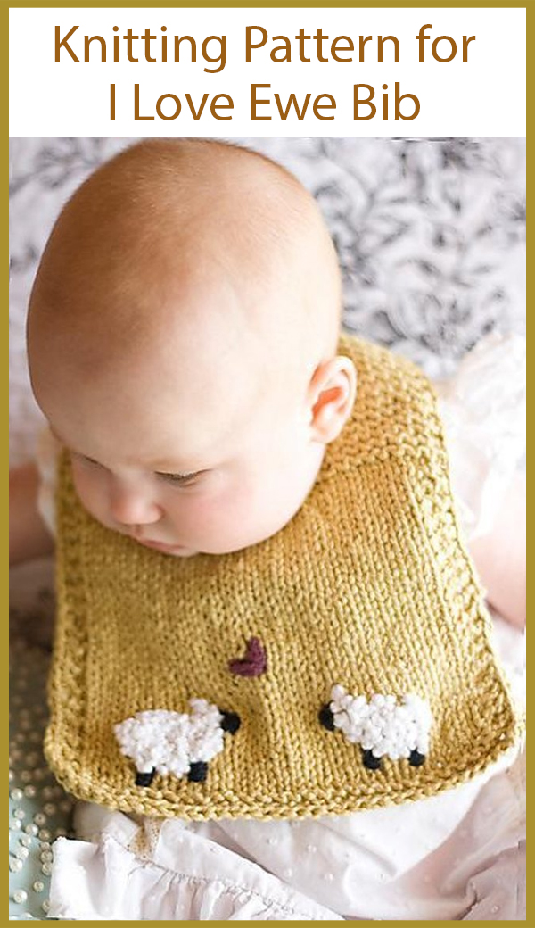 Knitting Pattern for I Love Ewe Baby Bib