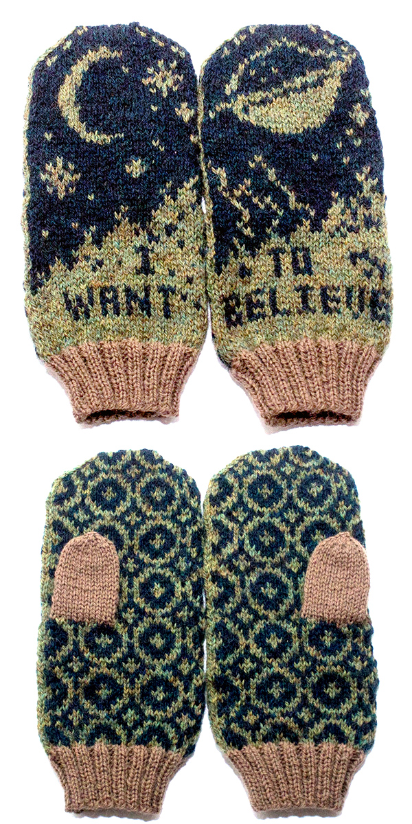Knitting Pattern for X-Files I Want To Believe Mittens