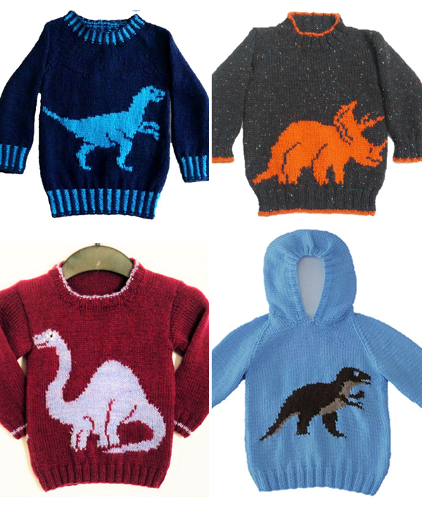Knitting Pattern for Dinosaur Sweaters for Babies and Children