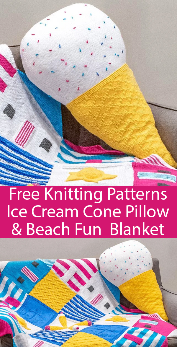 Free Knitting Pattern for Ice Cream Cushion and Beach Fun Blanket. Kits also available.