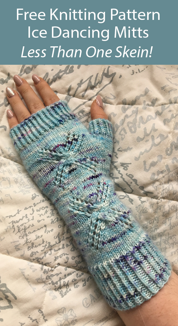 Free Knitting Pattern for Ice Dancing Mitts in One Skein