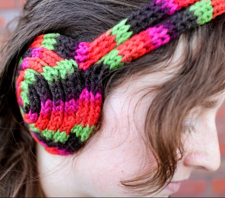 Free Knitting Pattern for I-Cord Earmuff Headband