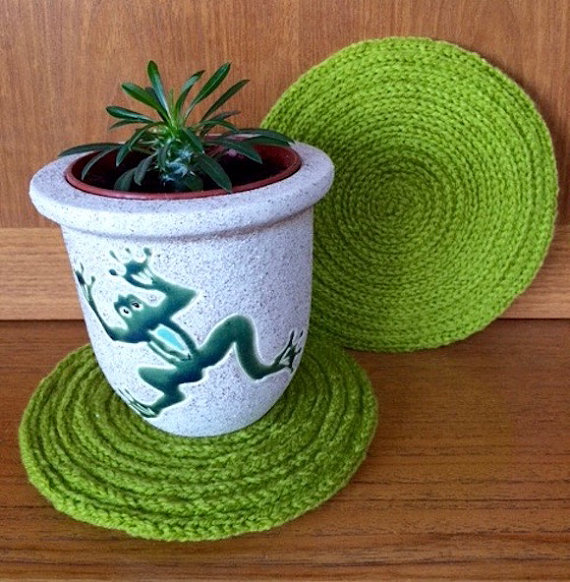 Knitting Pattern for I-Cord Coaster or Placemat