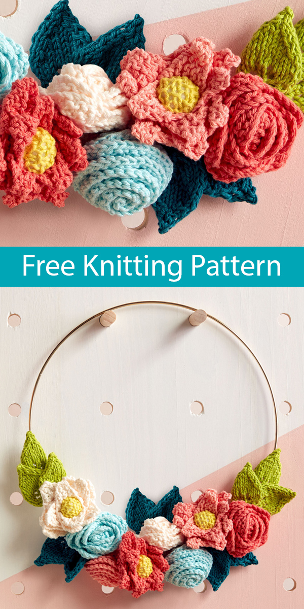 Free Knitting Pattern for Easy In Bloom Wreath