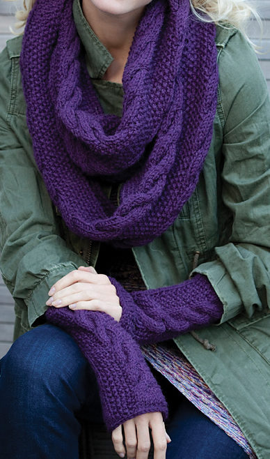 34347913095 Free Knitting Pattern for Infinity Trinity Cowl and Mitts Set