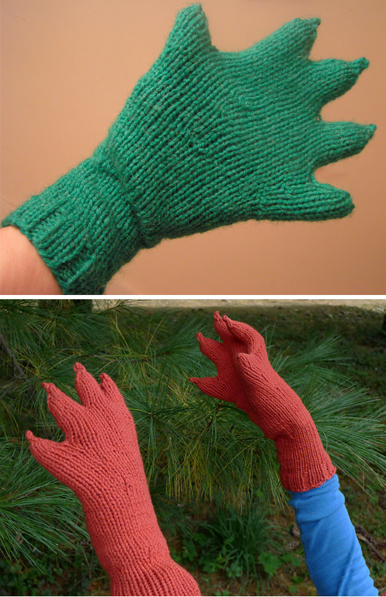 Free Knitting Pattern for Innsmouth Webbed Claw Gloves