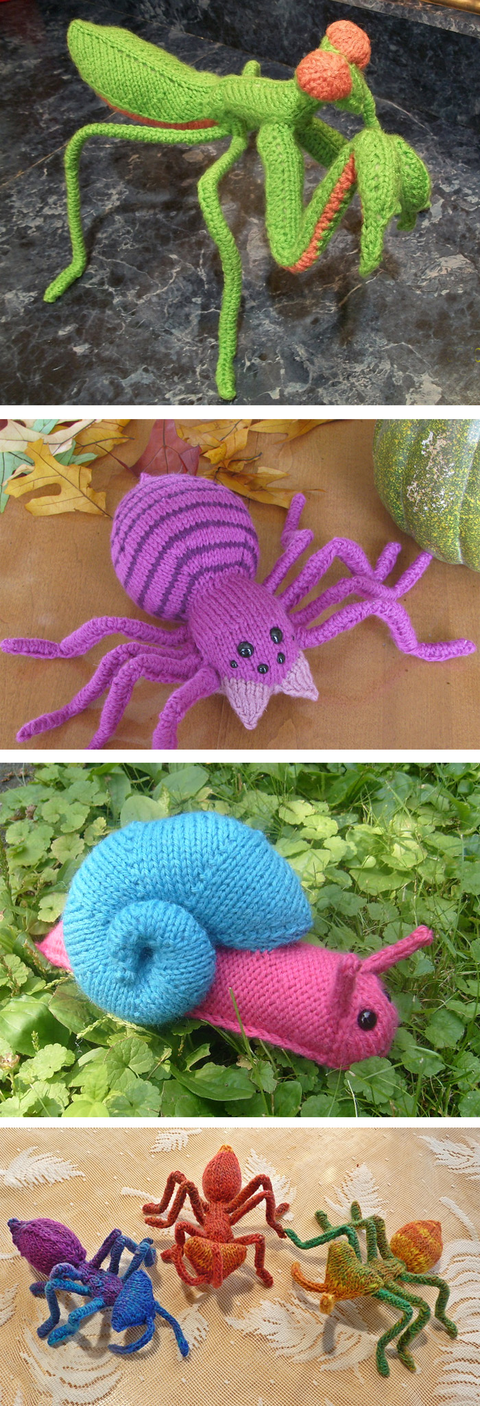 Knitting Patterns for Praying Mantis, Spider, Garden Snail, and Ant