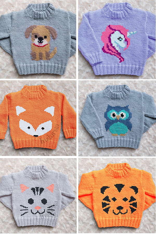 Knitting Pattern for Baby and Child Sweaters with Animals