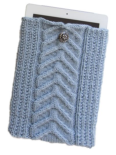 Free knitting pattern for Cable iPad Sleeve and more tablet and phone knitting patterns