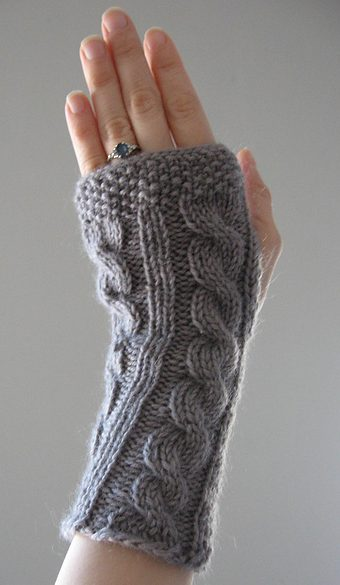 Free knitting pattern for Irish Hiking Scarf Mitts