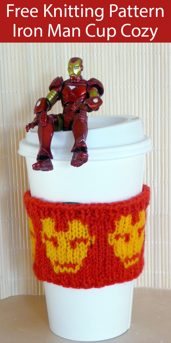Free Knitting Pattern for Iron Man Cup Cozy