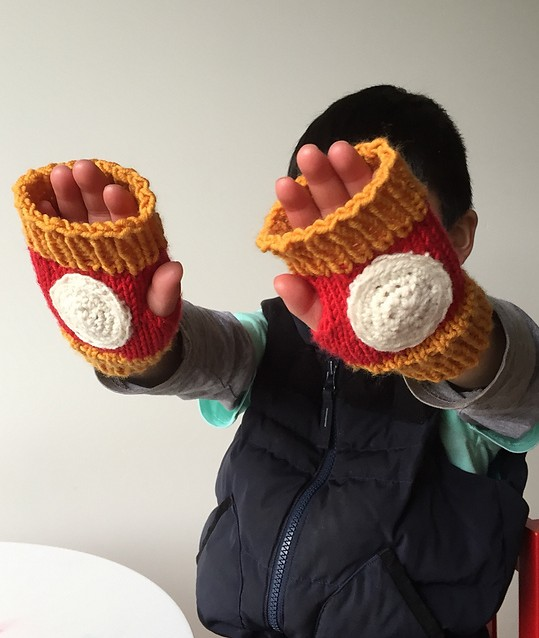 Free knitting pattern for Iron Man Mitts