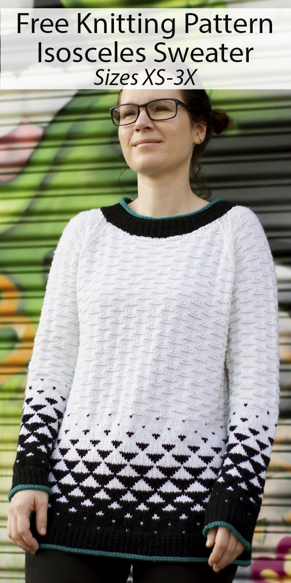 Free Knitting Pattern for Isosceles Sweater Sizes XS to 3X