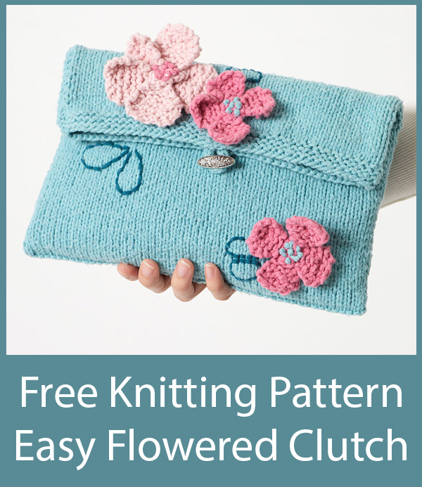 Free Knitting Pattern for Easy Flowered Clutch
