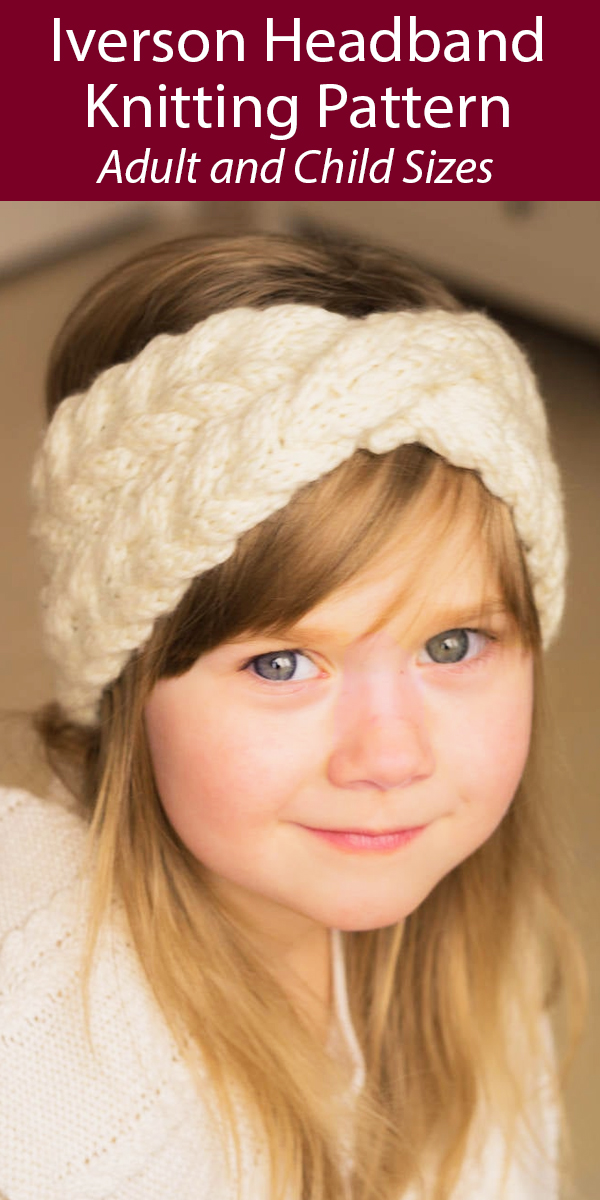 Kniting Pattern for Iverson Cable Twist Headband in Adult and Child Sizes