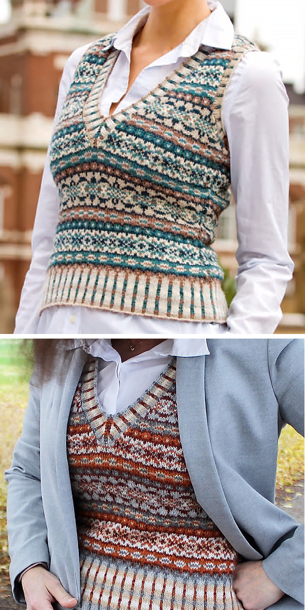 Free Knitting Pattern for Ivy League Vest