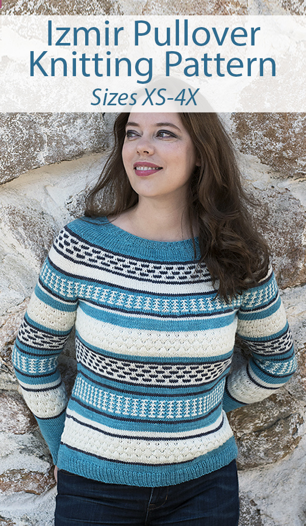 Stashbuster Knitting Pattern for Izmir Pullover Sweater Sizes XS-4X