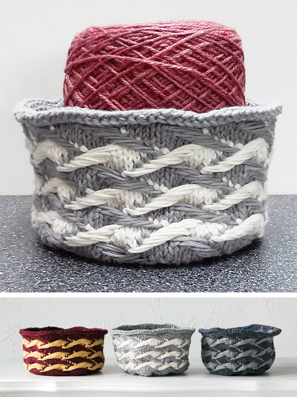 Knitting Pattern for Jacquard Basket