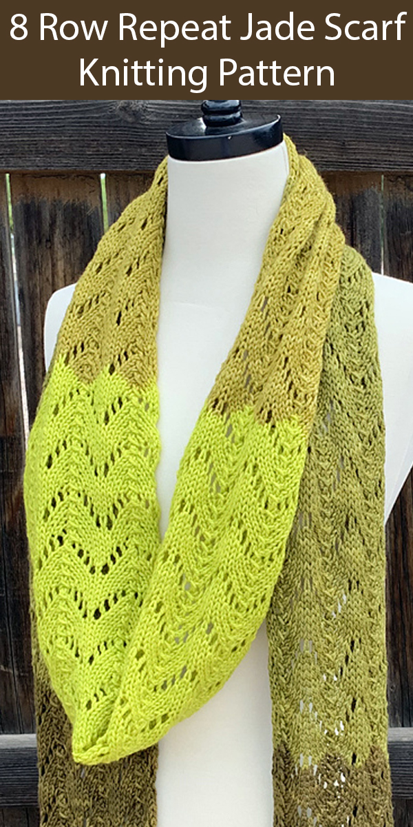 Knitting Pattern for 8 Row Repeat Jade Scarf
