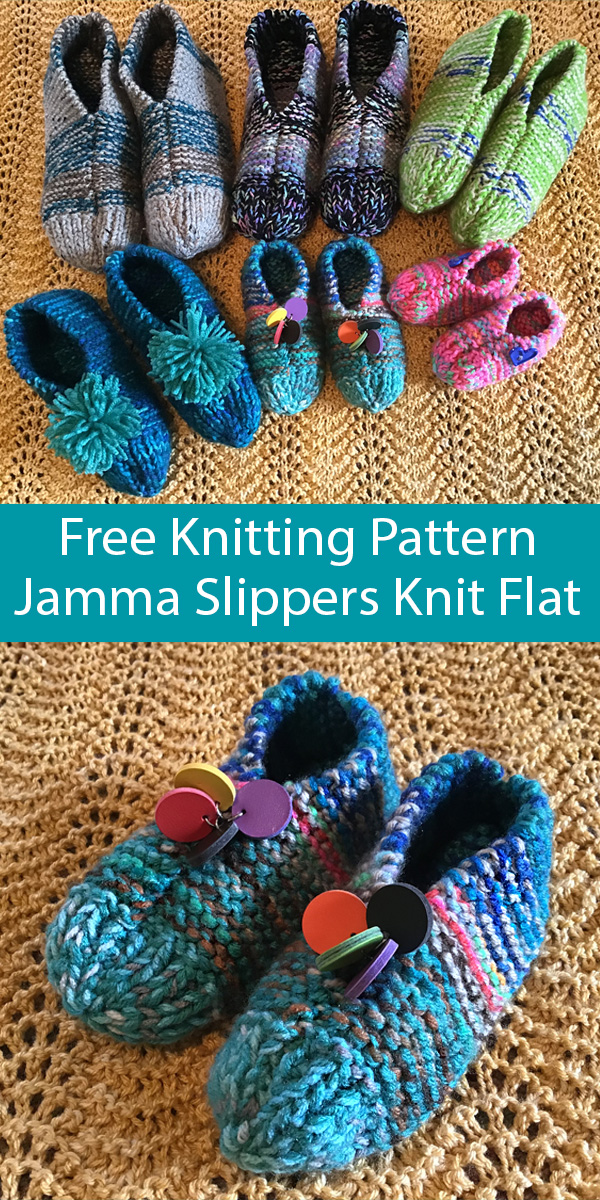 Free Knitting Pattern for Jamma Slippers Knit Flat Sizes Toddler to Adult XL
