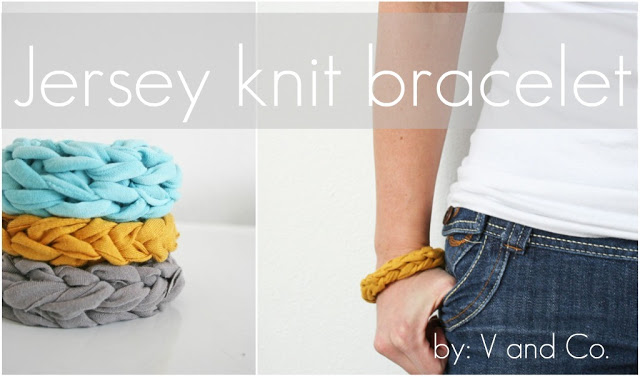 Free Finger Knitting Pattern for Jersey Knit Bracelet