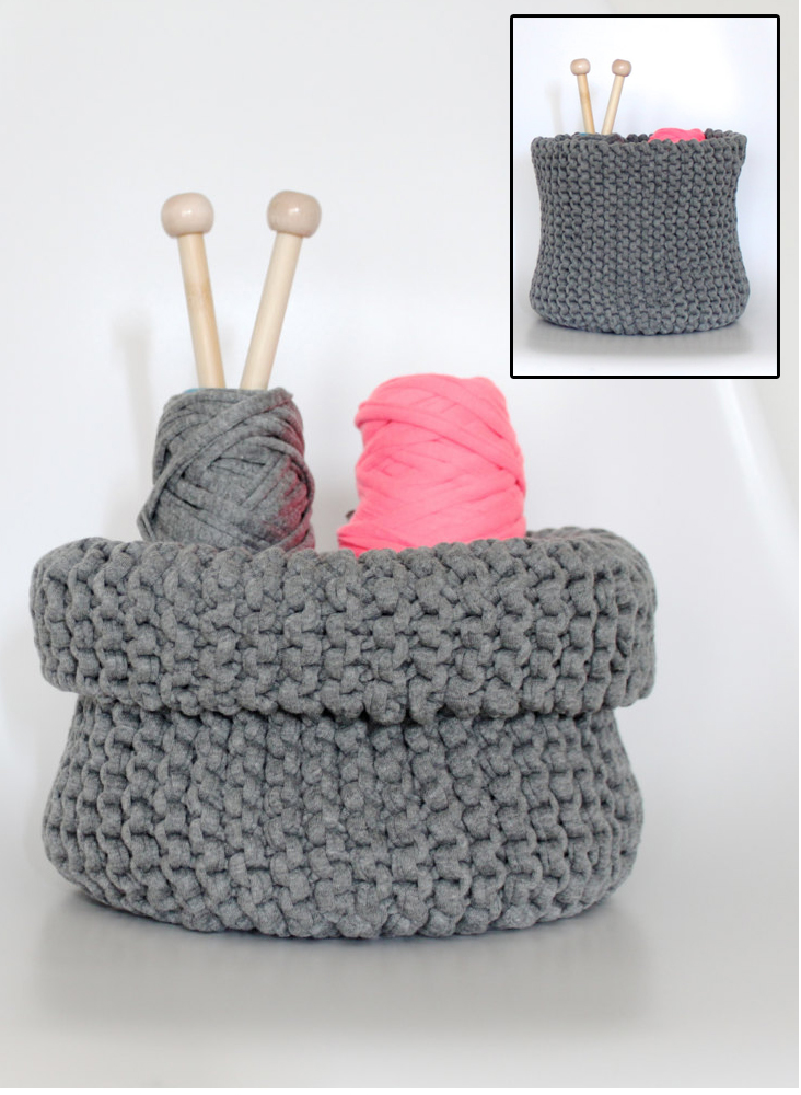Knitting Pattern for Jersey Storage Basket