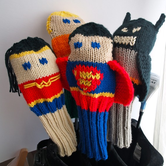 Knitting patterns for Justice League Golf club Covers