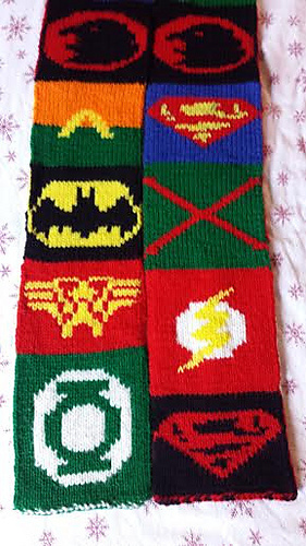 Justice League Scarf Free Knitting Pattern and more free fun scarf knitting patterns