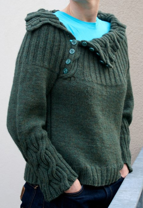Free Knitting Pattern for Joanie Sweater with Reversible Cables