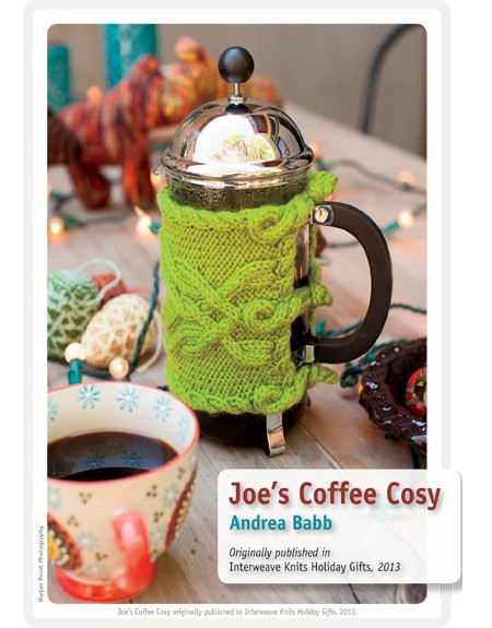 Joe's Coffee Cosy Knitting Pattern for French Press and more cozy / cosy knitting patterns