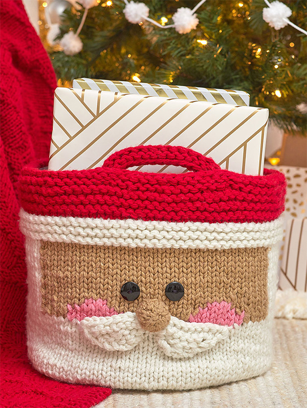 Free Knitting Pattern for Jolly Santa Basket