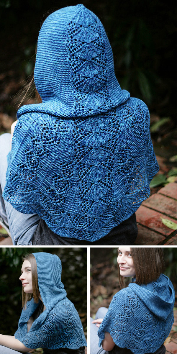 Knitting Pattern for Jo's Pride Hooded Shawl
