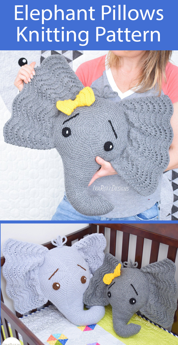 Knitting Pattern for Elephant Pillows