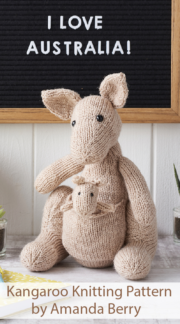 Knitting Pattern for Kangaroo and Joey by Amanda Berry
