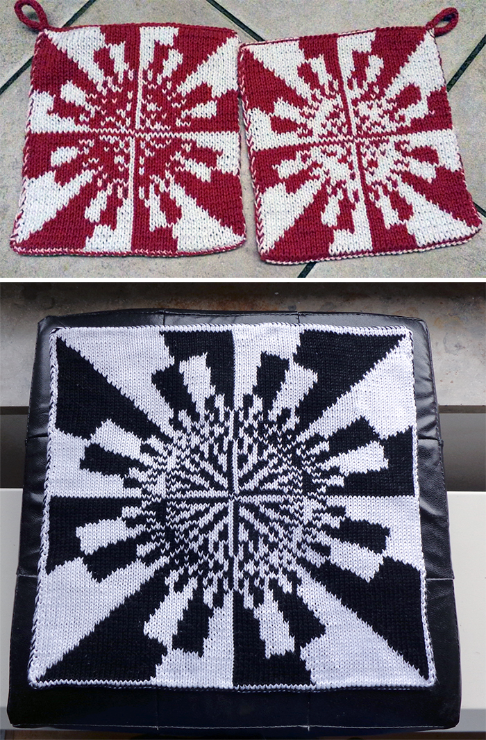 Free Knitting Pattern for Julia Fatou Fractal Potholder or Pillow Cover