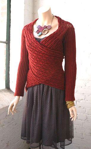 Free knitting pattern for Julianna scarf with sleeves wrap
