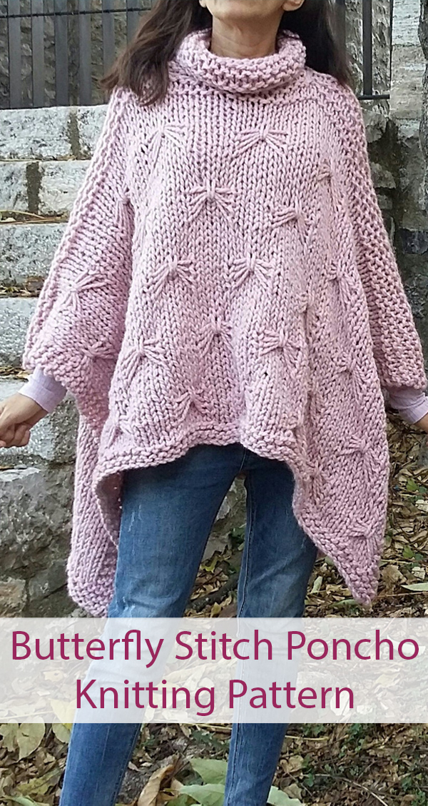 Knitting Pattern for Juniper Poncho with Butterfly Stitch