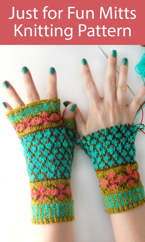 Mitts Knitting Pattern Just for Fun Fingerless Mitts