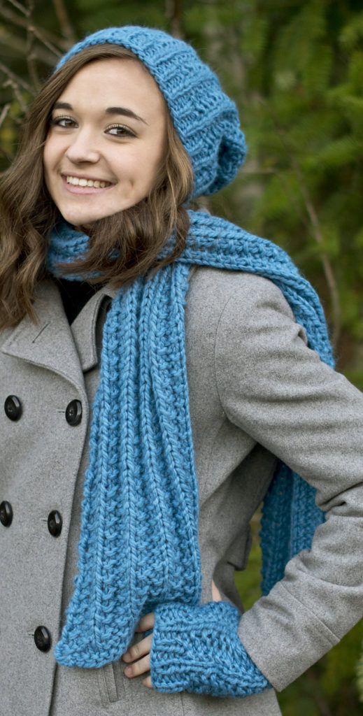 Free Knitting Pattern for One Row Repeat Hat, Scarf and Mitts Set