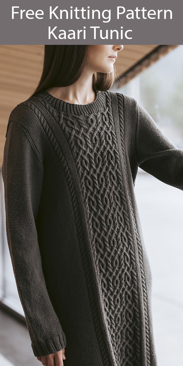 Free Knitting Pattern for Kaari Tunic Cabled Sweater