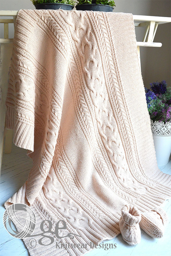 Knitting Pattern for Cable Treasure Baby Blanket or Throw
