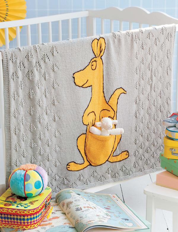 Knitting Pattern for Kangaroo Baby Blanket