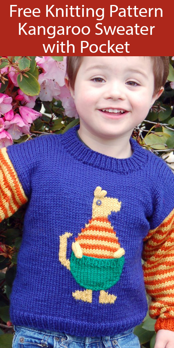 Free Knitting Pattern for Kangaroo Sweater with Pocket