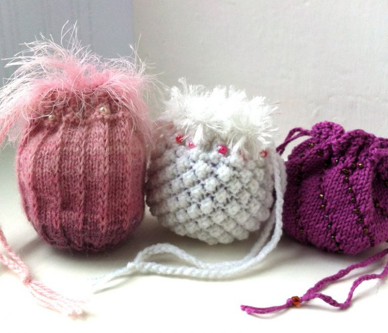 Knitting Patterns for Keepsake Bag Trio